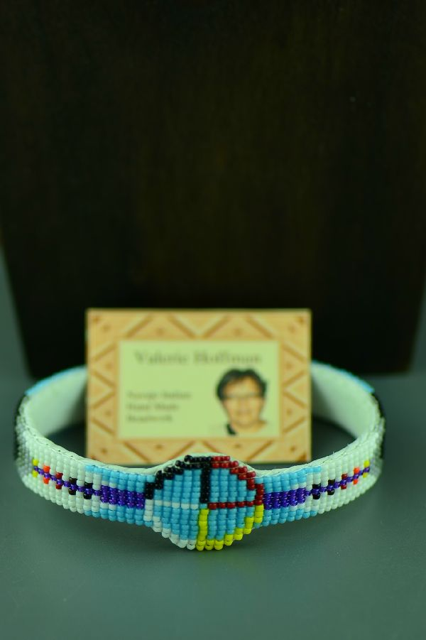 Navajo Medicine Wheel and Prayer Feather Beaded Bracelet by Valerie Hoffman