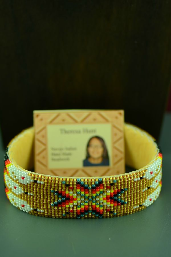 Navajo Traditional Prayer Feather Seed Bead Bracelet by Theresa Hunt