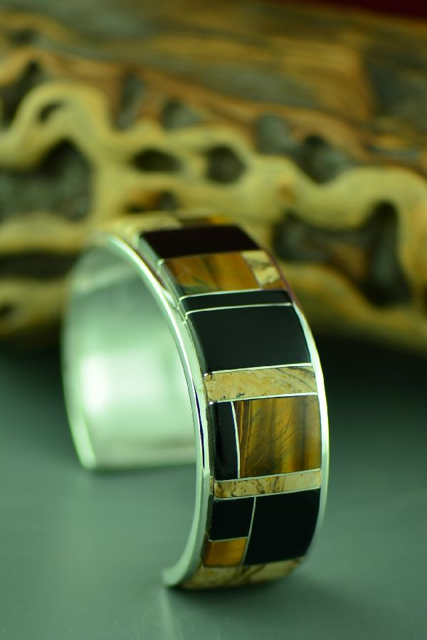 Navajo High Quality Sterling Silver Tiger Eye, Jasper and Jet Inlaid Bracelet by Lucy Cayatineto