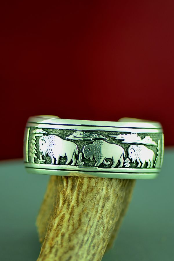 Navajo Sterling Silver Buffalo Bracelet by Tommy and Rosita Singer