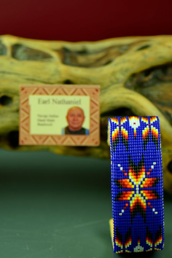 Navajo Colorful Beaded Prayer Feather and Starburst Bracelet by Earl Nathaniel