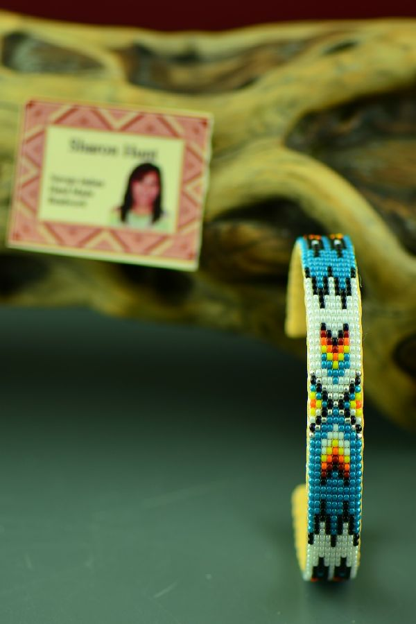 Native American Beaded Prayer Feather Bracelet by Sharon Hunt