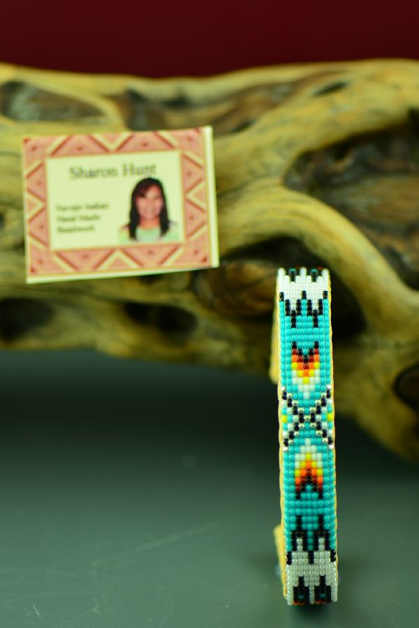 Navajo Prayer Feather Beaded Bracelet by Sharon Hunt