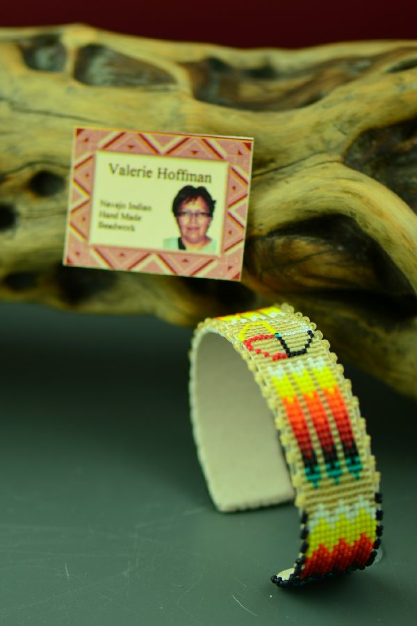 Navajo Traditional Medicine Wheel and Prayer Feather Beaded Bracelet by Valerie Hoffman