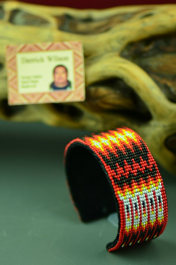 Navajo Beaded Bracelet with Prayer Feathers by Derrick Wilson