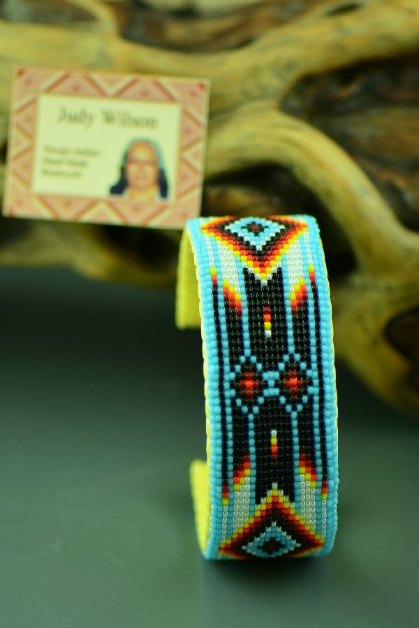 Authentic American Indian Beaded Bracelet with Prayer Feathers by Judy Wilson