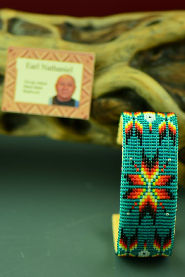 Navajo Beaded Prayer Feather and Starburst Bracelet by Earl Nathaniel