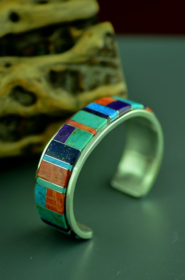 Navajo High Quality Sterling Silver Turquoise, Sugilite, Jet, Lapis, Spiny Oyster Shell and Lab Opal Inlaid Bracelet by Lucy Cayatineto