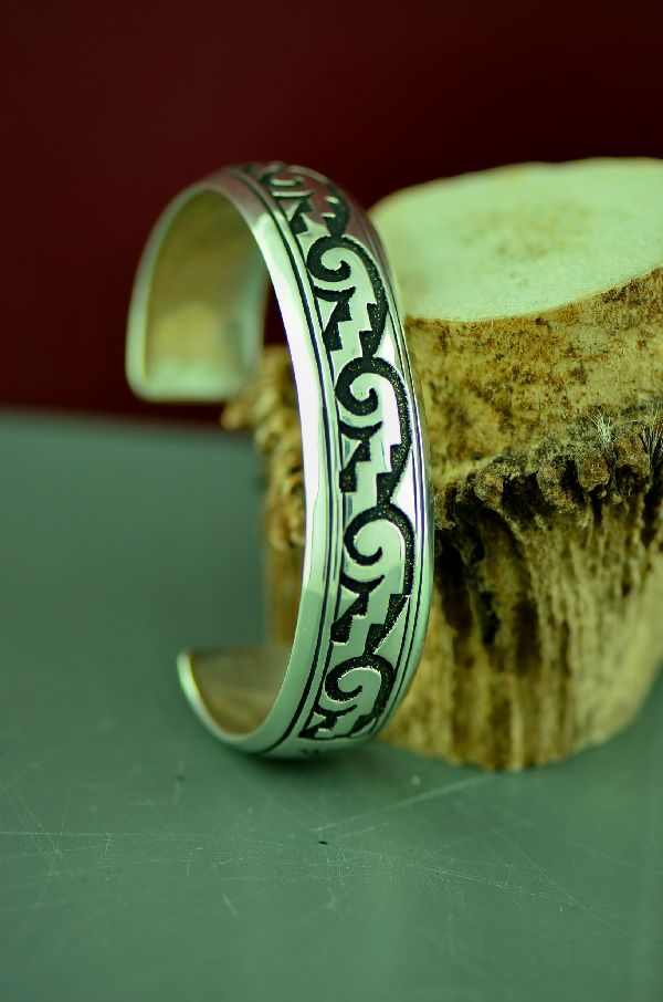 Navajo Sterling Silver Water and Wind Symbol Bracelet by Rosita Singer