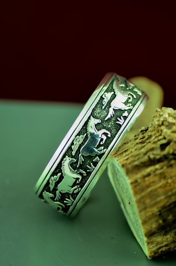 American Indian Sterling Silver Horse Bracelet by Rosita Singer