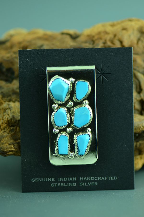 Zuni – Sterling Silver Turquoise Money Clip by Carl Cheama