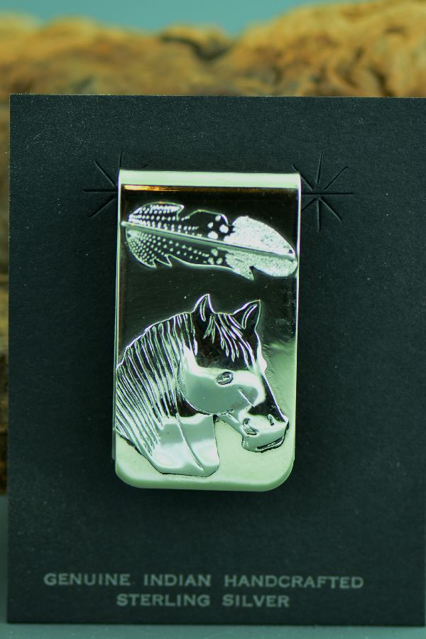 Navajo – Sterling Silver Horse and Feather Money Clip by Betty Tom