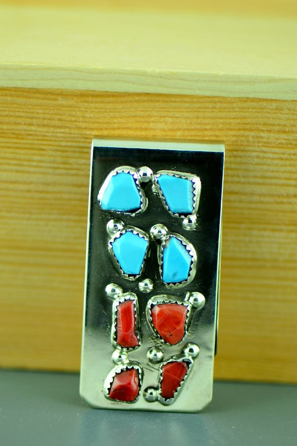 Zuni – Sterling Silver Turquoise and Coral Money Clip by Curtis Cheama