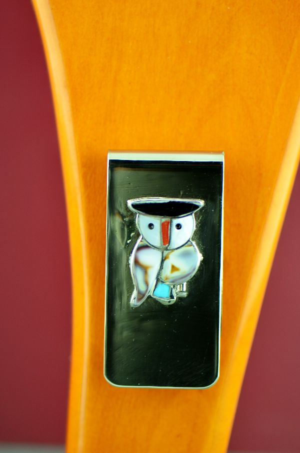 Zuni – Sterling Silver Inlaid Turquoise, Jet, Cowry Shell and Mother of Pearl Owl Money Clip by Pitkin Natewa
