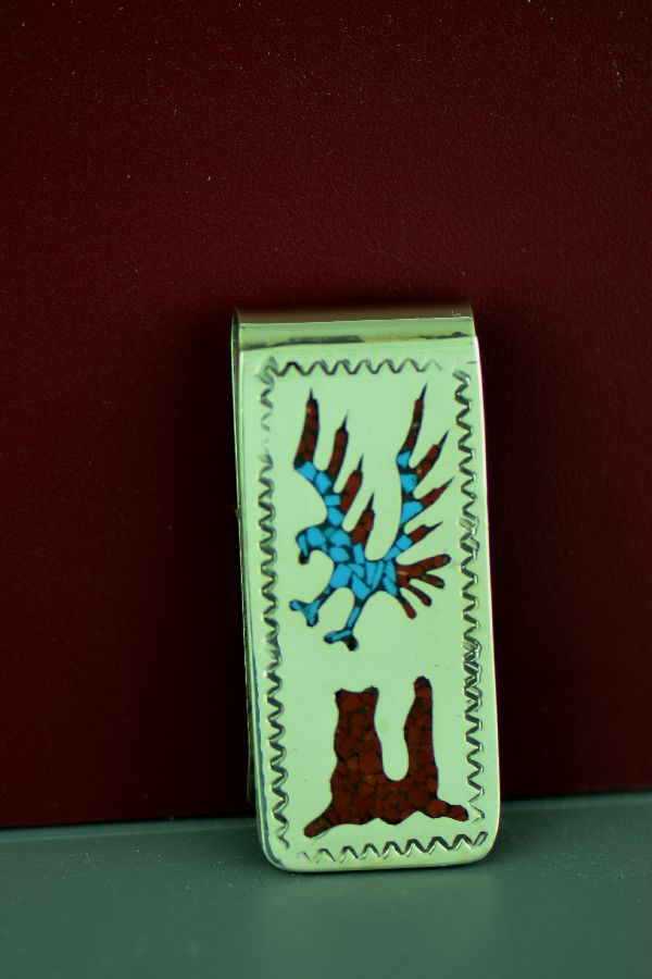 Navajo Sterling Silver Turquoise and Coral Chip Inlay Eagle and Mountain Money Clip by Kee Begay