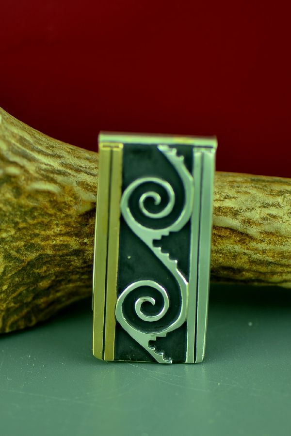 Navajo 12ktGF and Sterling Silver Water Symbol Money Clip by Rosita Singer