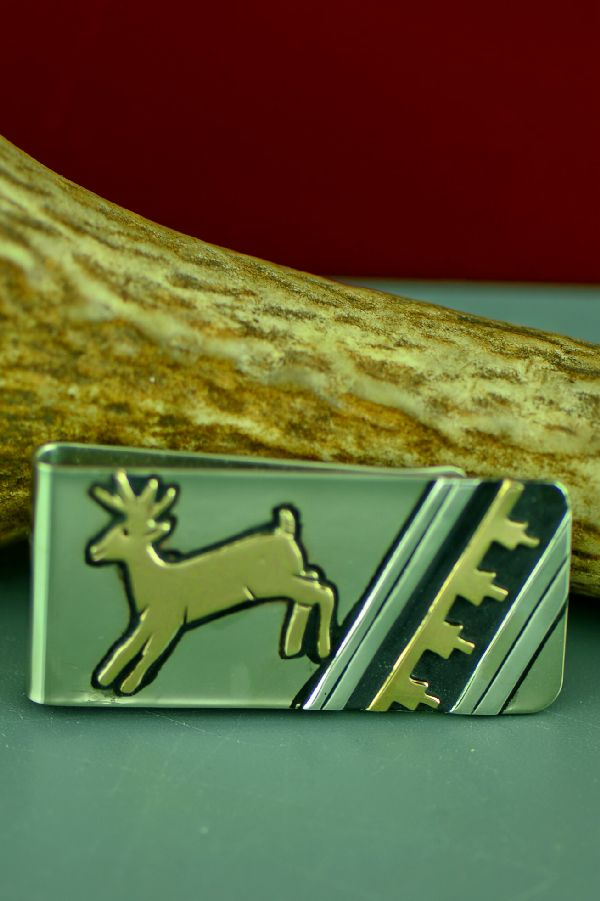 Navajo 12ktGF and Sterling Silver Deer and Mountain Symbol Money Clip by Rosita Singer