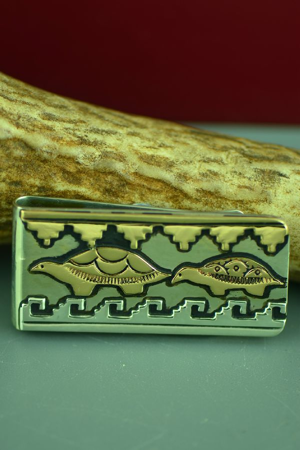 Navajo 12ktGF and Sterling Silver Turtle and Mountain Symbol Money Clip by Rosita Singer