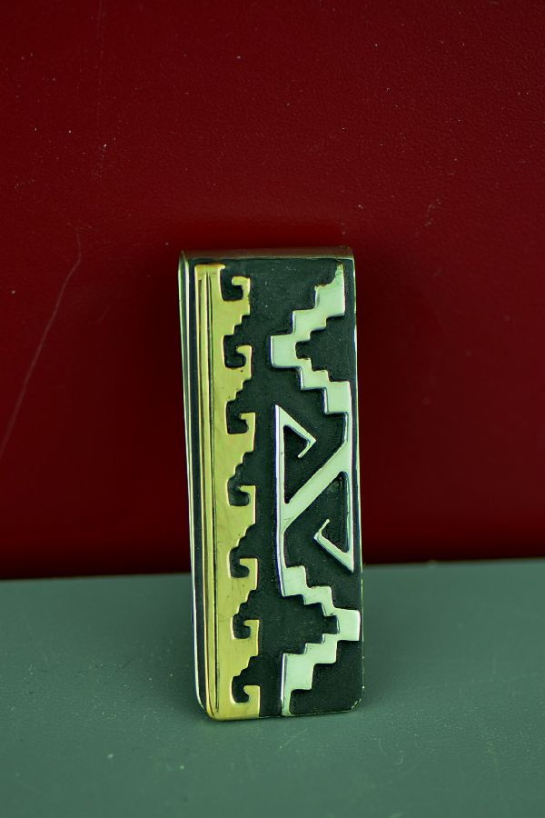 Navajo Sterling Silver and 12ktGF Mountain and Water Symbol Money Clip by Rosita Singer
