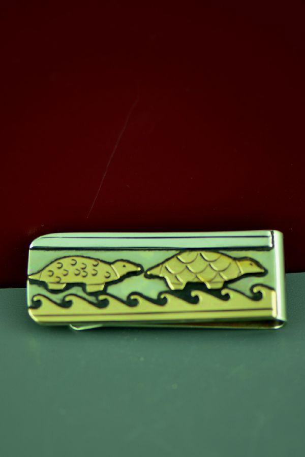 Navajo 12ktGF and Sterling Silver Turtle and Water Symbol Money Clip by Rosita Singer