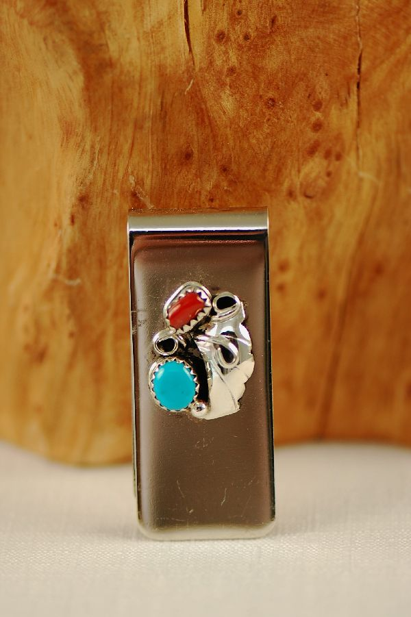 Navajo – Sterling Silver Turquoise and Coral Money Clip