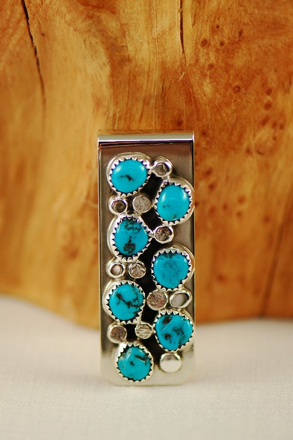 Zuni – Sterling Silver Turquoise Money Clip by Curtis Cheama