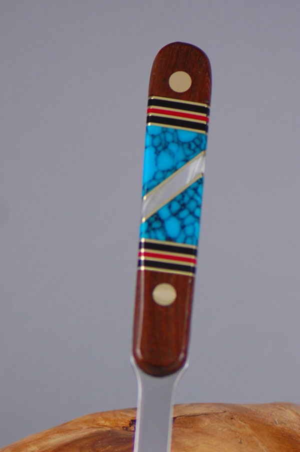 Bash Dani � Rosewood Letter Opener with Inlaid Turquoise, Jet, Coral, and Mother of Pearl