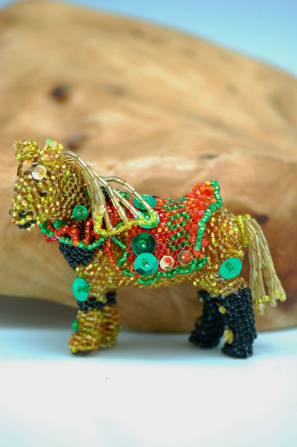 Zuni � Multi-Colored Beaded Circus Horse by Jenett Deeweese