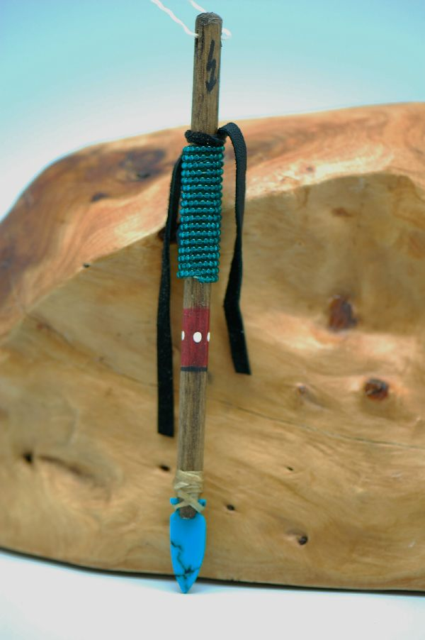 Navajo � Hand Carved Turquoise Arrowhead and Beaded Spear DuWayne Turpen