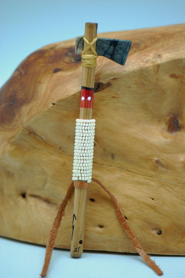 Navajo � Hand Carved Picasso Marble Beaded Tomahawk DuWayne Turpen