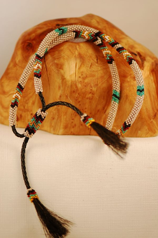 Navajo – Multi-Colored Seed Bead Horse Hair Hat Band by Jimmy Begay
