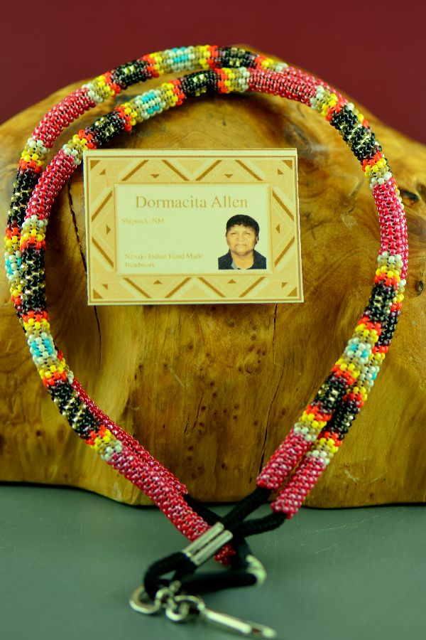 Dormacita Allen Red Beaded Navajo Lanyard