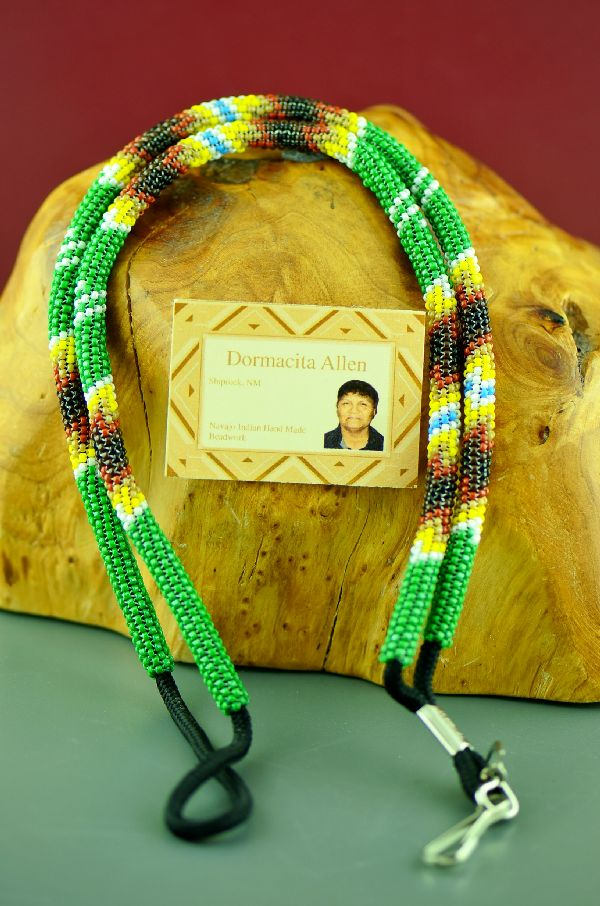 Native American Green Beaded Lanyard