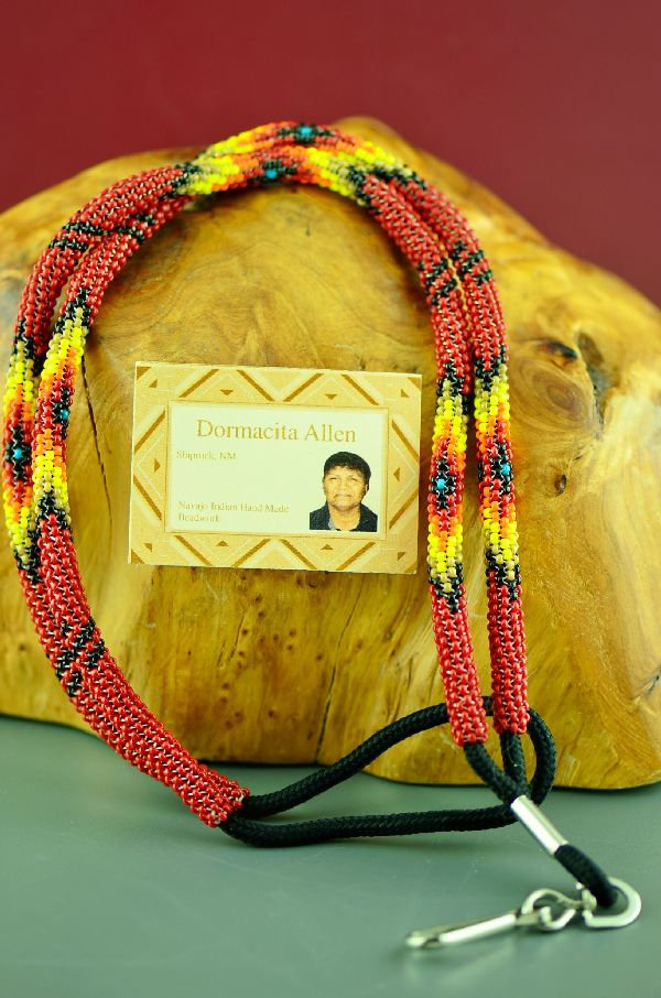 Navajo Red Beaded Lanyard