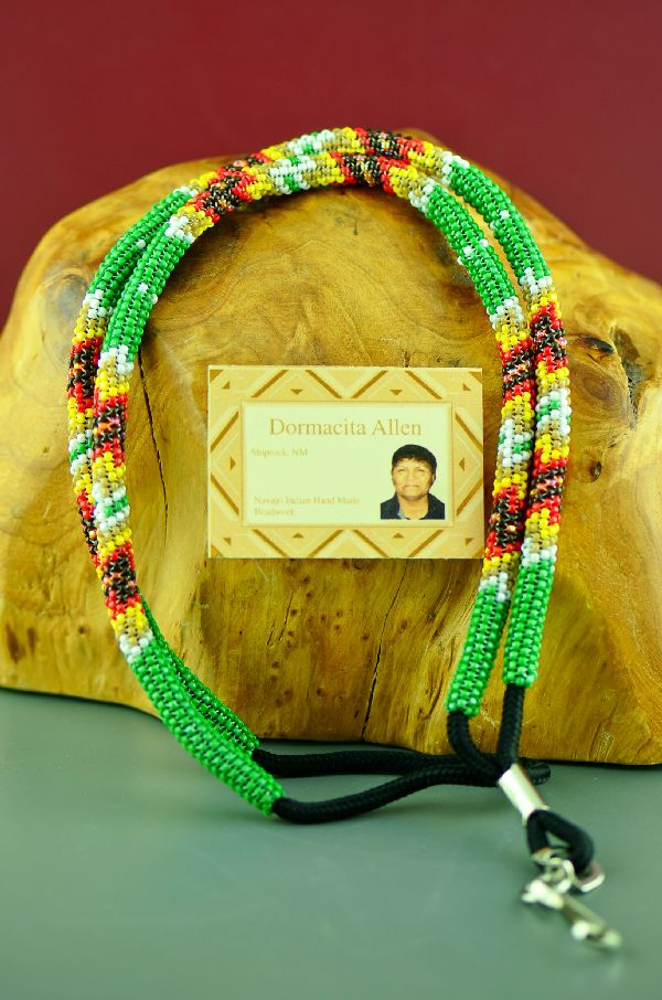 Unique Native American Green Beaded Lanyard