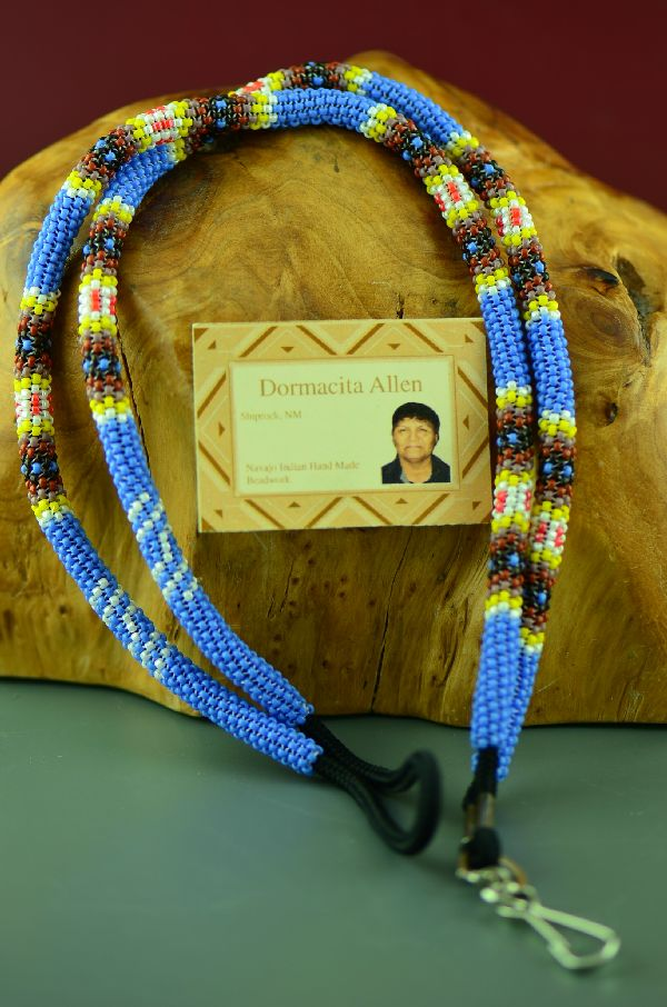 Native American Blue Beaded Lanyard