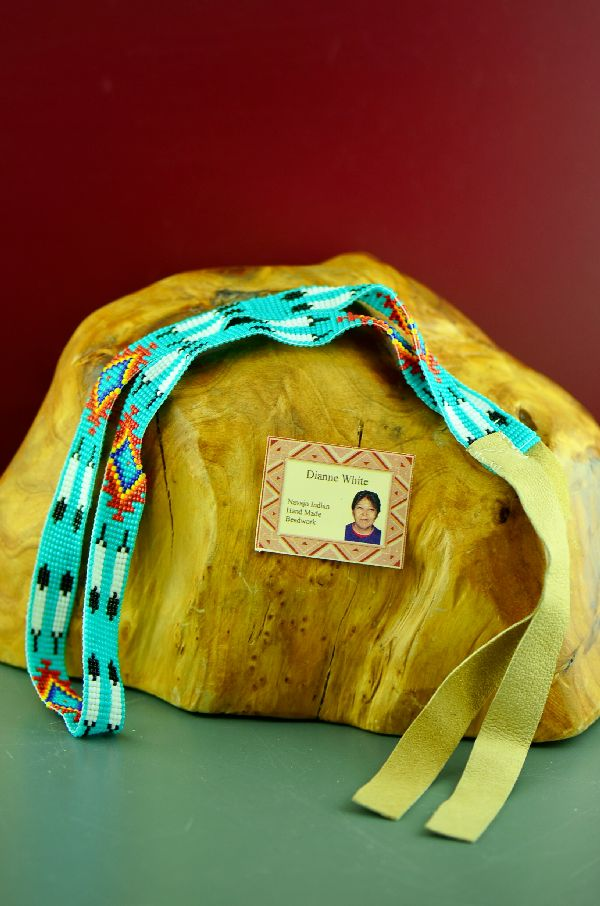 Navajo Traditional Beaded Prayer Feather Hat Band by Dianne White