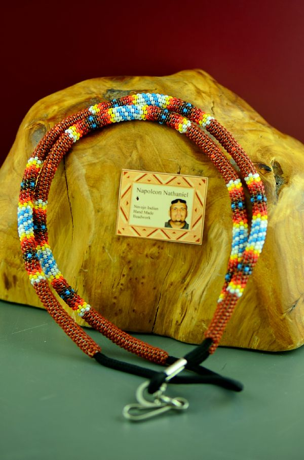 Navajo Multi-Colored Beaded Lanyard by Napoleon Nathaniel