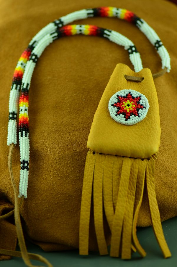 White Mountain Apache Beaded Medicine Pouch by Michael J. Endfield