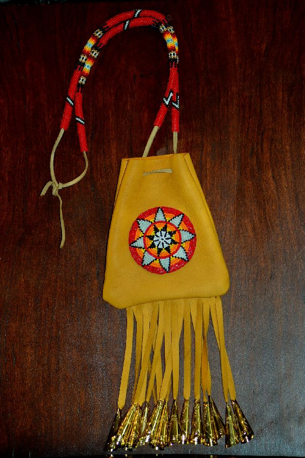 Large White Mountain Apache Beaded Starburst Medicine Pouch by Michael J. Endfield