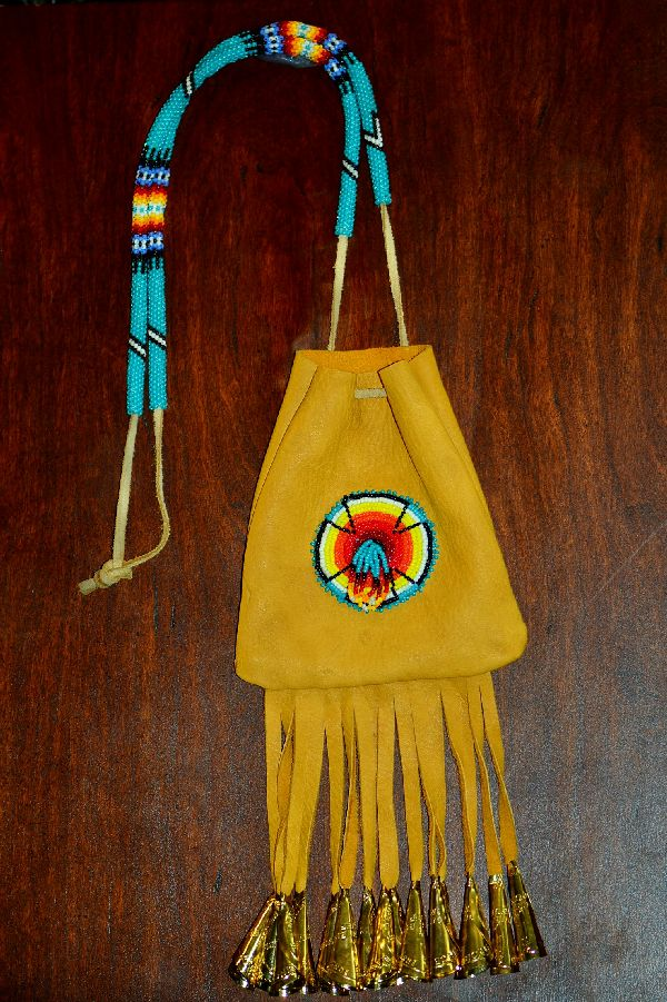 Large Beaded White Mountain Apache Medicine Pouch by Michael J. Endfield