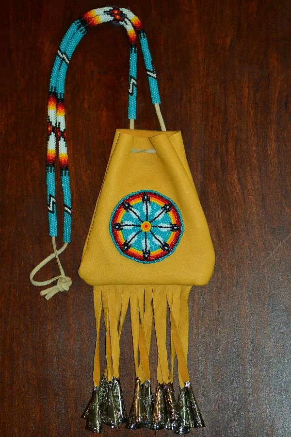 Large White Mountain Apache Beaded Prayer Feather Medicine Pouch by Michael J. Endfield