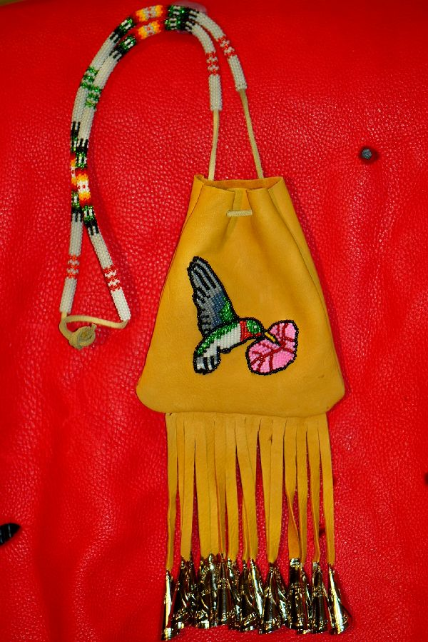 White Mountain Apache Michael J. Endfield Beaded Hummingbird Medicine Pouch