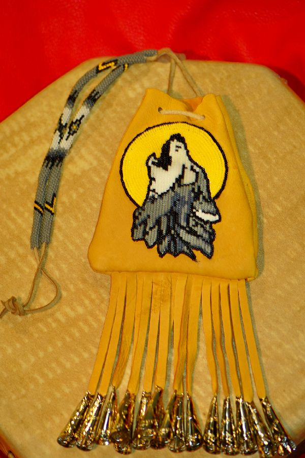 Authentic White Mountain Apache Beaded Wolf Medicine Pouch