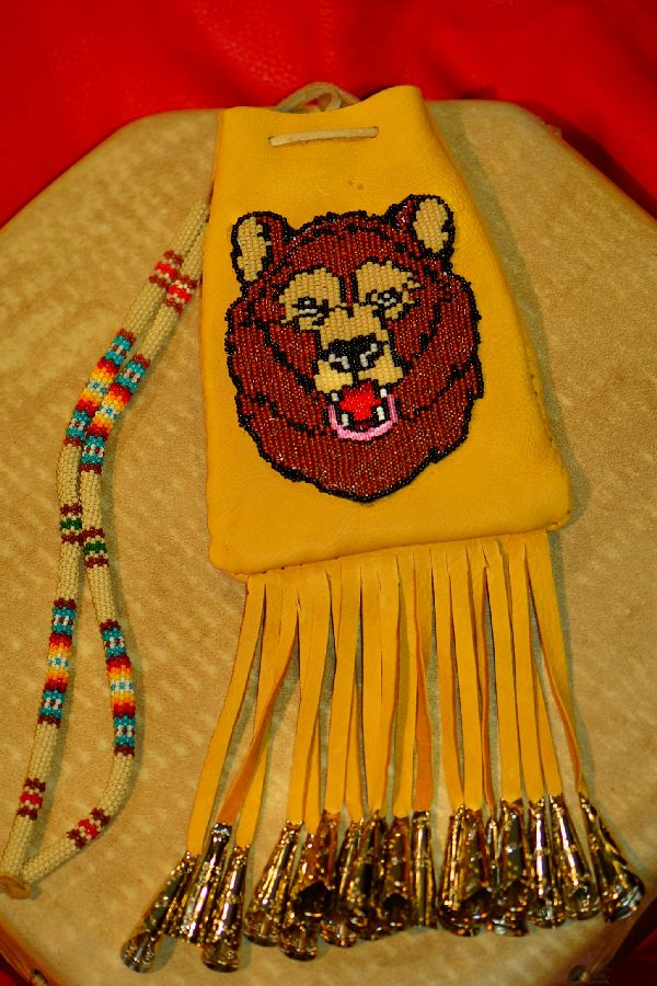 Authentic White Mountain Apache Beaded Bear Medicine Pouch