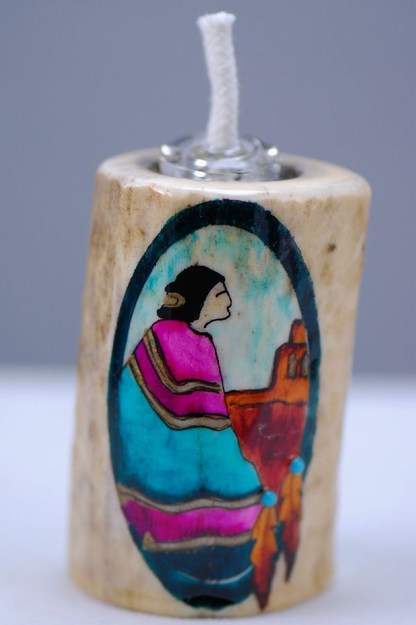 Hand Painted Navajo Woman Deer Antler Oil Lamp by Stan the Elkman