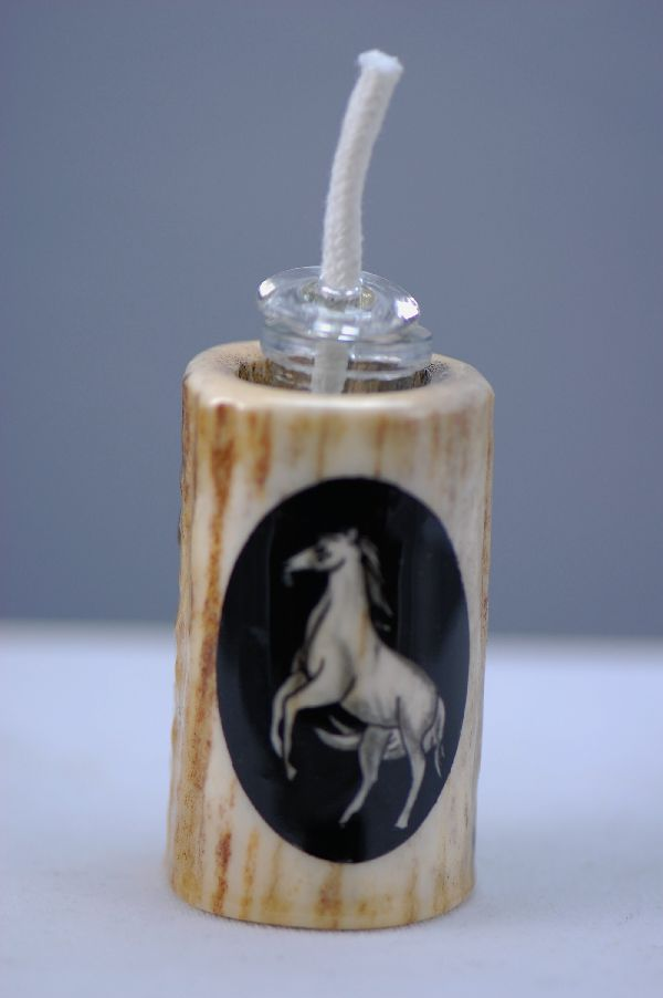 Hand Painted Horse Deer Antler Oil Lamp by Stan the Elkman