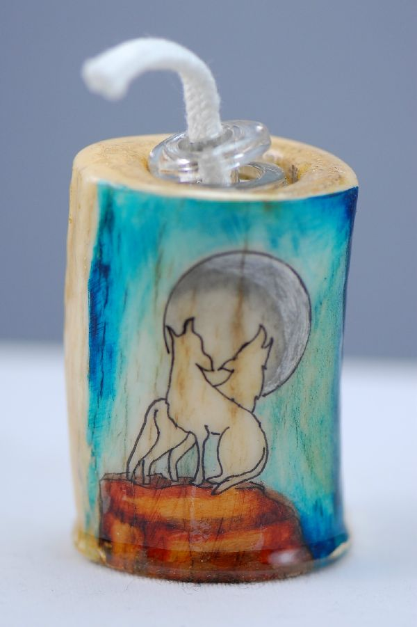 Hand Painted Coyote Deer Antler Oil Lamp by Stan the Elkman