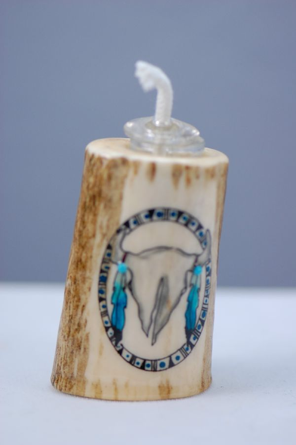 Hand Painted Buffalo Skull Deer Antler Oil Lamp by Stan the Elkman