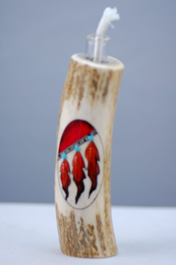 Hand Painted Prayer Feather Deer Antler Oil Lamp by Stan the Elkman